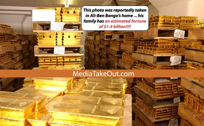 Gold bars in Ali Bongo's home {img: Mediatakeout}