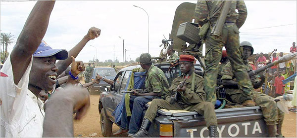 In 2003, François Bozize, a general, seized power in the Central African Republic and is still president. In March 2003, the escort of the then-new president was hailed by residents of a suburb of Bangui, above. {NYtimes}