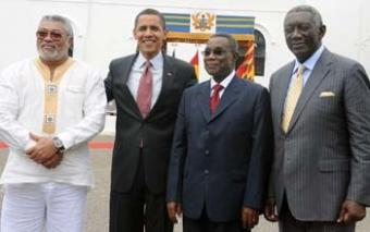 Rawlings extreme left, with Obama and Atta-Mills {ModernGhana}