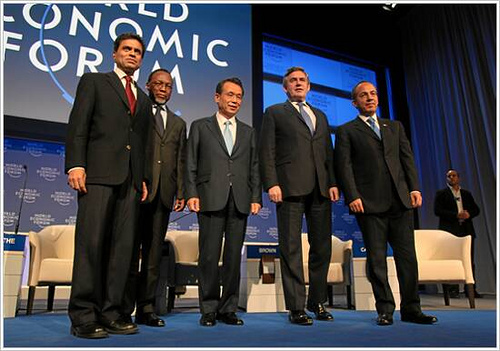 Fareed Zakaria (FLTR), Editor, Newsweek International, USA, Kgalema Motlanthe, President of South Africa, Han Seung-Soo, Prime Minister of the Republic of Korea, Gordon Brown, Prime Minister of the United Kingdom, Felipe Calderón, President of Mexico captured during the session 'Reviving Economic Growth' at the Annual Meeting 2009 of the World Economic Forum in Davos, Switzerland, January 30, 2009