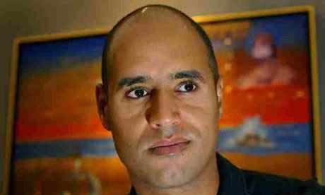 Saif Gaddafi, the son of the Libyan leader. Photograph: Kieran Doherty/Reuters
