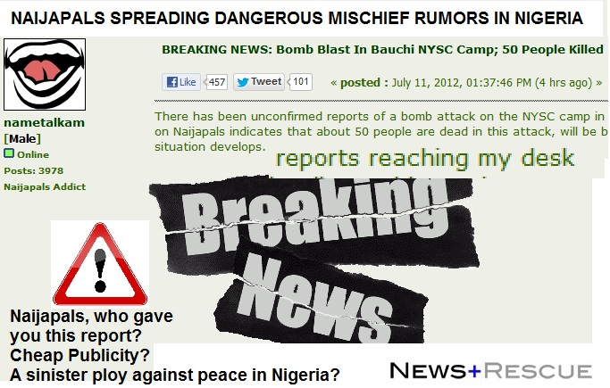 naijapals spreads dangerous rumor of bomb in bauchi