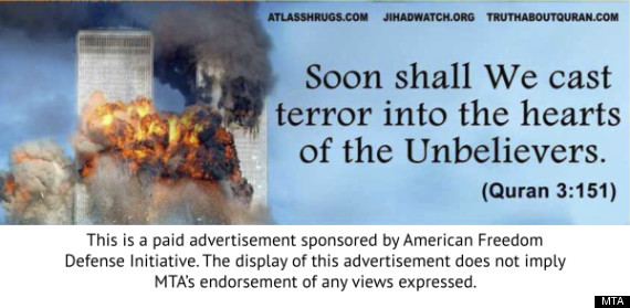 Anti-Islam Ads run by Pamela Geller 2012 {huffington post}