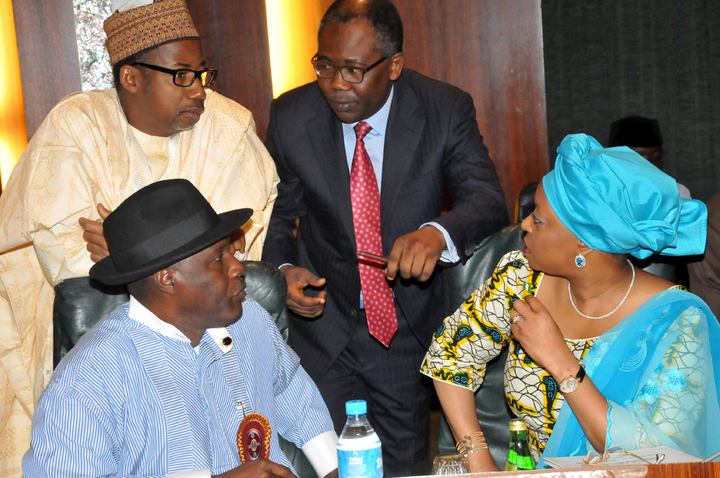 MINISTER OF NIGER DELTA, ELDER GODSDAY ORUBEBE; FCT MINISTER, SEN. BALA MOHAMMED; MINISTER OF JUSTICE, MR MOHAMMED ADOKE (SAN), AND MINISTER OF PETROLEUM, MRS DIEZANI ALISON-MADUEKE, AT THE FEDERAL EXECUTIVE COUNCIL MEETING IN ABUJA ON WEDNESDAY (11/1/12). {nangronline}