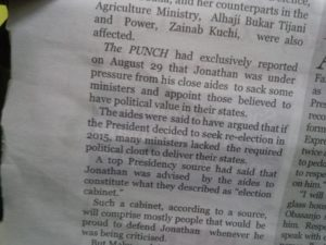 Punch: Ministers sacked because they 'lacked ' the political clout and will to deliver their states in 2015