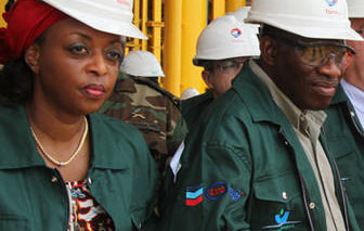 Jonathan and Diezani, the 'oil godess', Diezani is sister to Jonathan's concubine/ baby mama and also hails from the Niger Delta