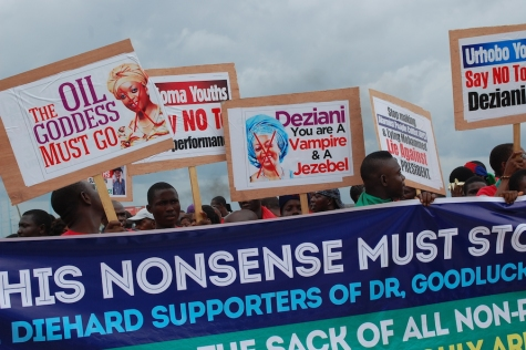 Niger Deltans protest for Oil Minister, Oil Godess Diezani, and Moro to be sacked