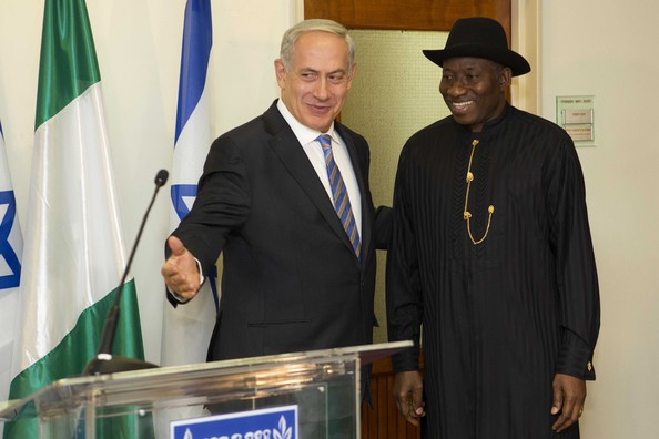 Nigeria's president Goodluck Jonathan with Israel's Benjamin Netanyahu