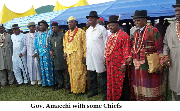 GOV AMAECHI WITH SOME OF THE CHIEFS
