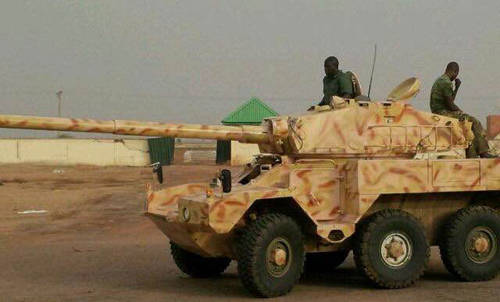 "Armored tank T-55 also known as ""Sarge"" is prized weapon seized from Boko Haram fighters in Konduga Sahara Reporters Media"