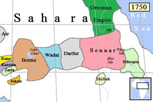 Map shows Kano and Borno and related kingdoms extending to the Nile in 1750.