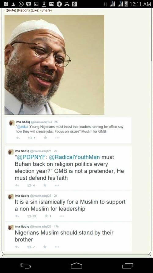 Screenshot of fake twitter handle created to discredit APC candidate Muhammadu Buhari