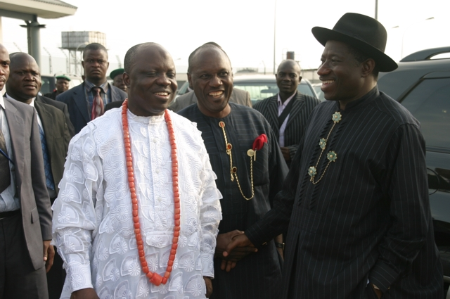 From Right, Vice President Goodluck Jonathan, Minister For Special Duties, Elder Godsday Orubebe And Governor Emmanuel Uduaghan, During The 80th Birthday Celebration Of Chief E. K. Clark, At Kiagbodo.