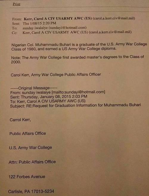 US confirms Buahri Diploma, describes president in high regard
