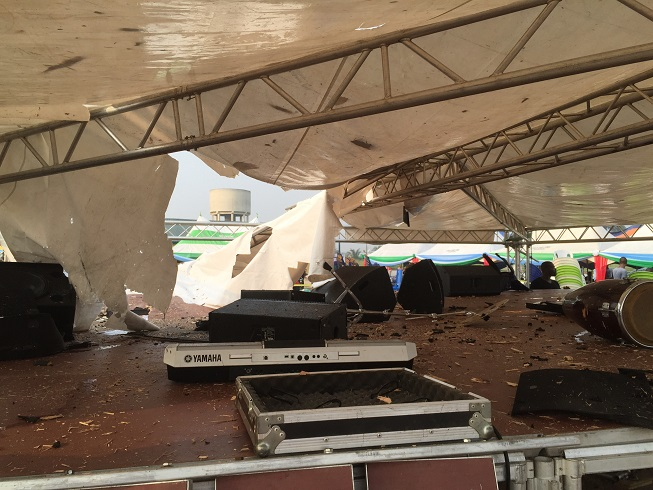 Destroyed items at the planned rally ground [10]