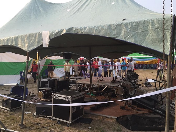 Destroyed items at the planned rally ground [4]