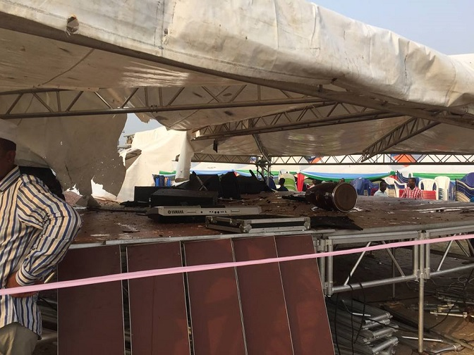 Destroyed items at the planned rally ground [7]