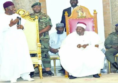 President Jonathan promising Shehu of Borno Saturday that he will at if re-elected while army knew of Boko Haram movement toward capital