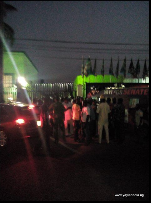 People gather after Adeola attack