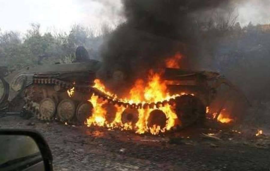 Civilian-JTF burn Boko Haram tank last Sunday