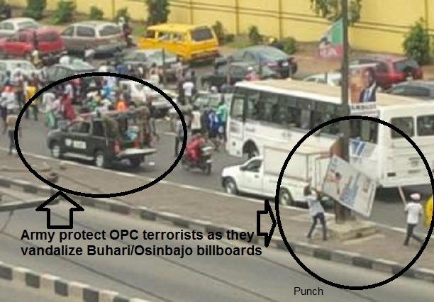 OPC and Jega Protest vandalize