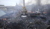 An aerial view shows Independence Square during clashes between anti-government protesters and Interior Ministry members and riot police in central Kiev