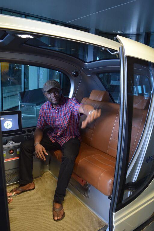 Dr. Brimah in driver-less car at AMsdar city