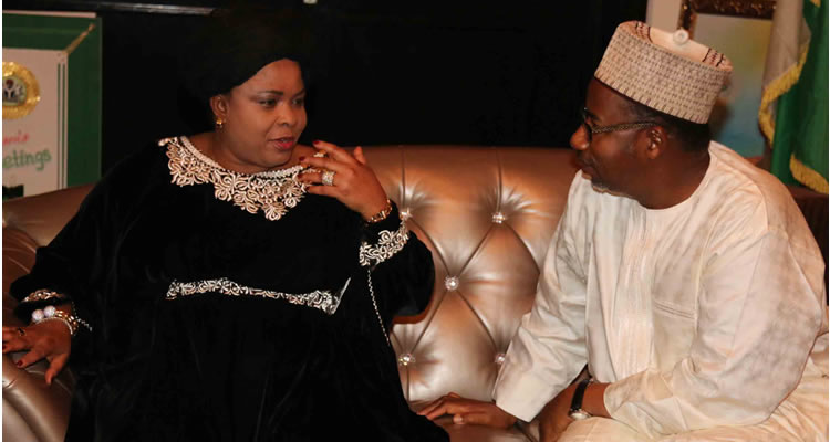 Former first lady Pateince Jonathan with Bala Mohammed