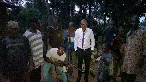 Nnamdi Kanu with Radio Biafra terrorists