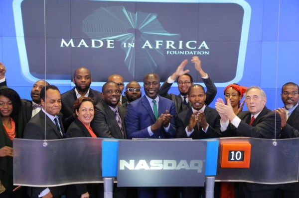 """Kola Aluko And US Jamie Foxx drop bell At NASDAQ launch """"Made in Africa"""" foundation"""