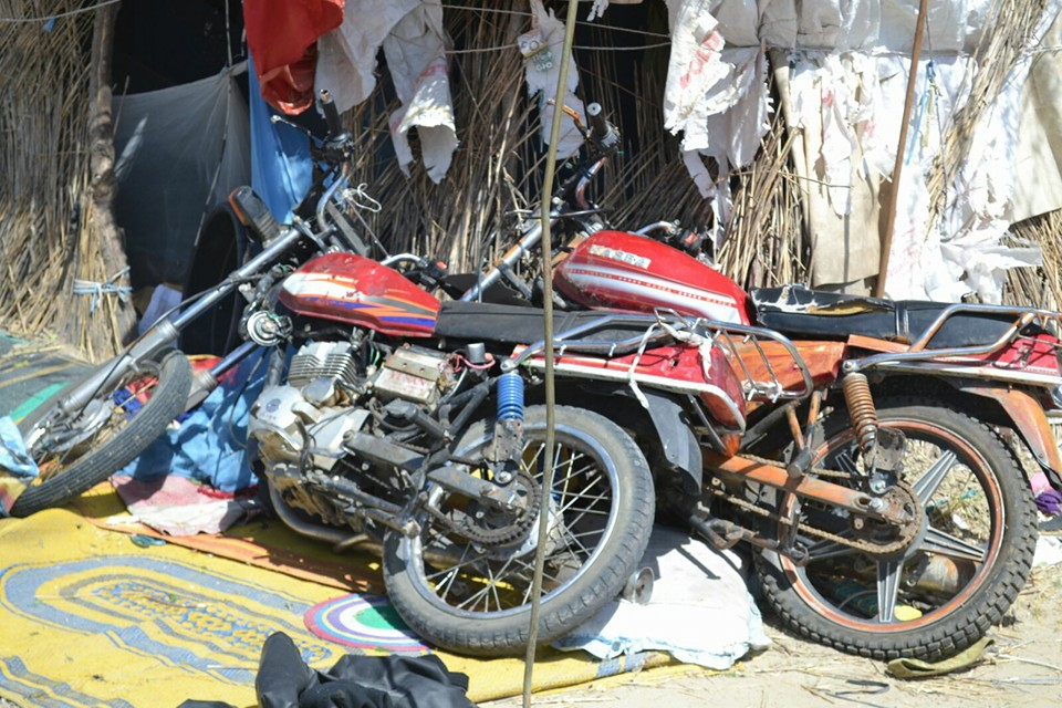 Recovered motorcycles and other items at the camp.