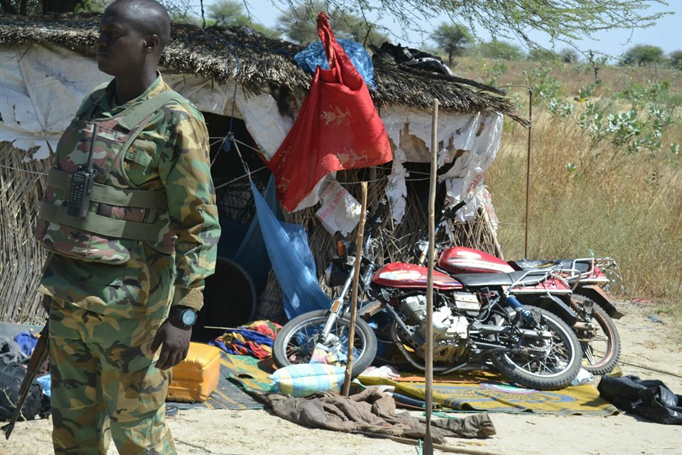 The living accomodation of the terrorists and motorcycles at the camp.