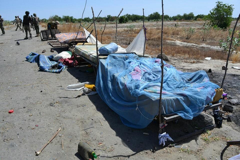 Boko Haram terrorists beddings at the camp.