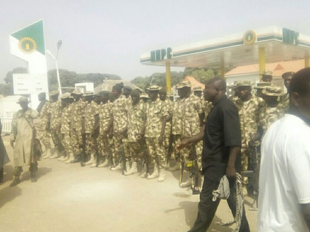 Soldiers who were deployed to Hussainiyah Islamic Center that triggered citizens to block street as they feared an unprovoked assault