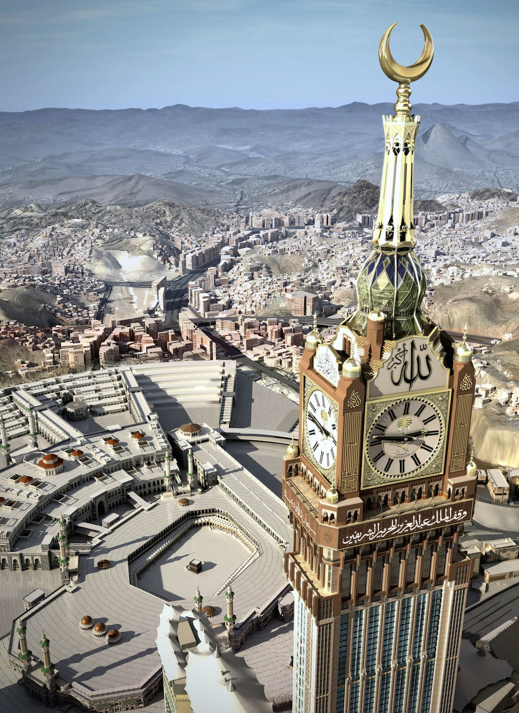 The four-faced clock, atop the Abraj Al-Bait Towers, in Mecca, Saudi Arabia stands over the holy Kabaa, lower rear The clock faces are 43 ◊ 43 m (141 ◊ 141 ft). Saudi Arabia will test what it is billing as the world's largest clock in the holy city of Mecca during the Muslim fasting month of Ramadan, the official news agency reported Tuesday, Aug. 10, 2010. The tallest tower in the complex will stand as the tallest building in Saudi Arabia, tallest and largest hotel in the world, with a planned height of 601 m (1,972 ft), including a 200 ft spire. Upon completion, the structure would have the largest floor area of any structure in the world with 1,500,000 m2 (16,150,000 sq ft) of floorspace. (AP Photo/ Saudi Press Agency) ** EDITORIAL USE ONLY, NO SALES **