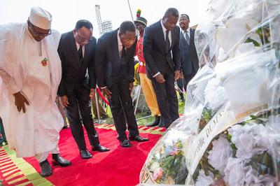 President Muhammadu Buhari attends the Funeral Service of Late Gen. Mathiew Kerekou (Former President of Republic of Benin) at Friendship Stadium in Cotonou, Benin Republic on 10th Dec 2015