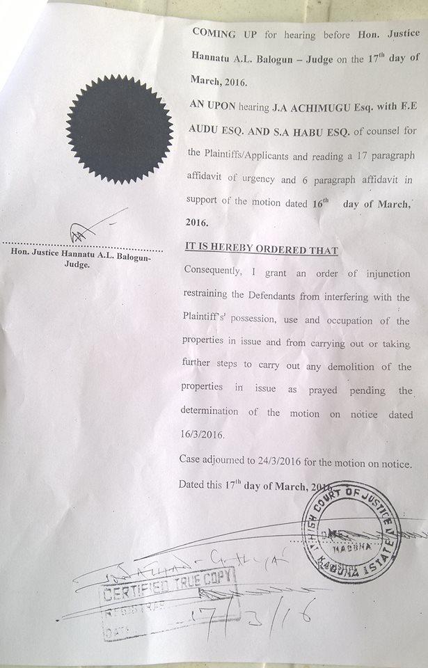 gbayyi villa court injunction