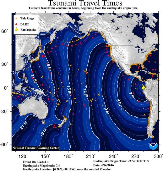 Pacific Tsunami Warning Center did issue a Warning for a Tsunami from 0.3 to 1 meter in height, for Ecuador, Peru, Columbia, Panama and Mexico, but says other areas may just see a non-damaging increase in tide level.