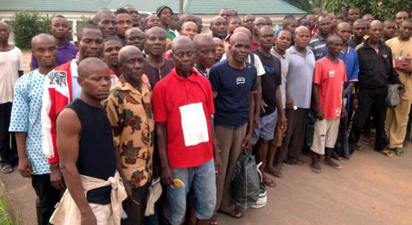 The 76 Enugu farmers, after their release from detention