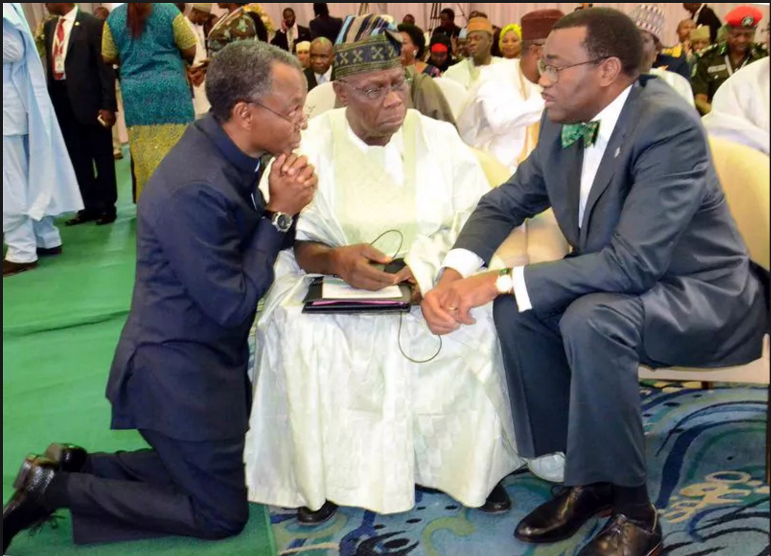 El-Rufai seen kneeling for Obasanjo in May of this year, even after the book was published