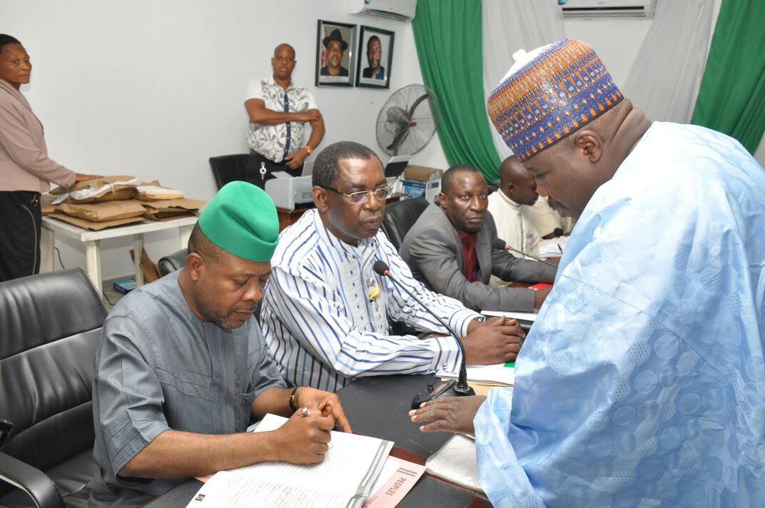 Pictures 1 and 2: From Right: Acting National Chairman, Senator Ali Modu Sheriff, Chairman of PDP National Convention Screening Committee, Hon Emmanuel Aguma, SAN, (In white) and Former Speaker of the House of Representatives, Hon Emeka Ihedioha during the screening of the Acting chairman in Port Harcourt on Friday.