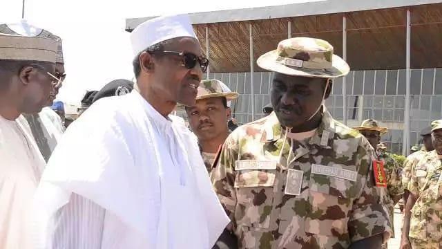 President Buhari and army chief Tukur Buratai