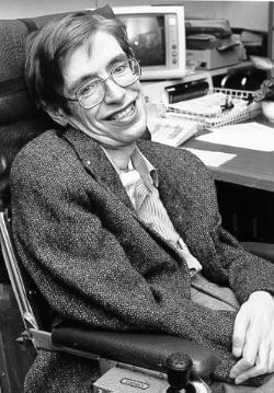 Black & White photo of Hawking at NASA. [Wikipedia]