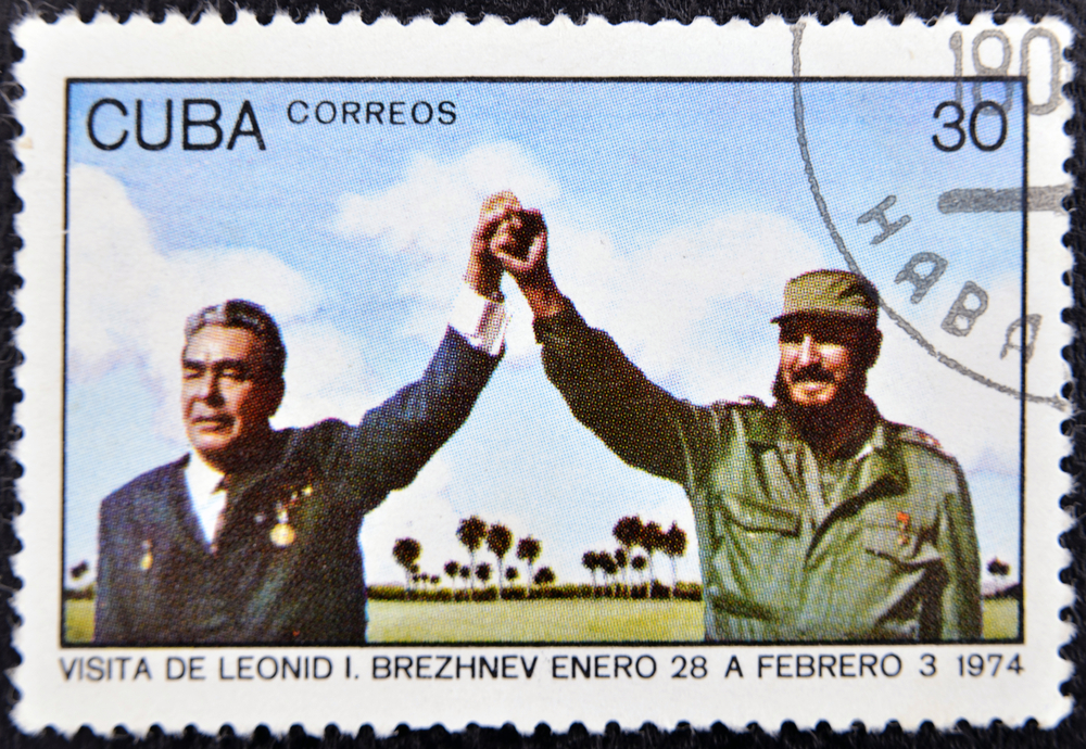 UBA - CIRCA 1974 : A stamp printed in Cuba show leader of USSR Leonid Brezhnev and Fidel Castro, circa 1974