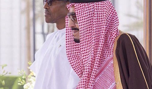 Nigeria's president Muhammadu Buhari with Saudi King Salman as Saud