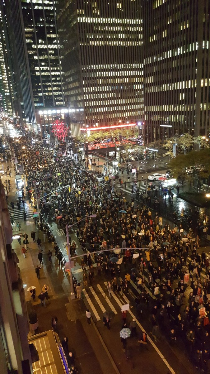Protesters occupying New York main street