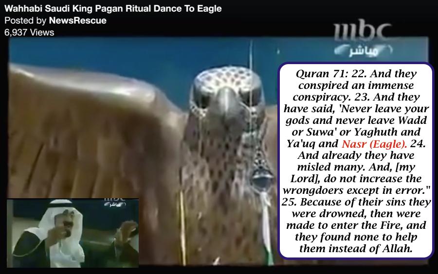 Saudi Arabian King dances to Nasir Eagle statue