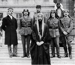 Emir Faisal bin Hussein king of Syria and Iraq with T.E-Lawrence second from right