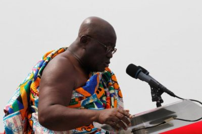 Ghana's President elect Nana Akufo-Addo speaks during his swearing-in ceremony at Independence Square in Accra, Ghana January 7, 2017. REUTERS/Luc Gnago