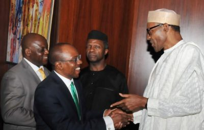 PIC.14. FROM LEFT: PERMANENT SECRETARY, STATE HOUSE, MR NEBOLISA EMORDI;   CBN GOVERNOR, MR GODWIN EMEFIELE; VICE-PRESIDENT YEMI OSINBAJO AND   PRESIDENT MUHAMMADU BUHARI, DURING THE INAUGURATION OF NATIONAL ECONOMIC   COUNCIL AT THE PRESIDENTIAL VILLA IN ABUJA ON MONDAY (29/6/15). 5067/29/6/2015/ICE/CH/NAN